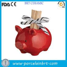 Adorable little pig wholesale ceramic Toothpick Holder