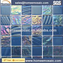 stile moderno blu bagno in vetro mosaico