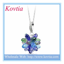 Fine jewelry crystal cluster pendant for neckalce