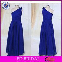 One Shoulder Chiffon Royal Blue Flower Girl Dress