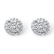 Fancy round diamond cluster halo 10k white gold stud earrings