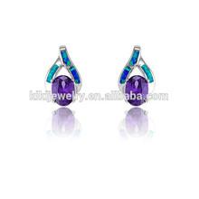 Fashion opal and purple diamond intertwined pierced earrings