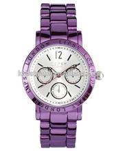 wholesale water resistant japan movt quartz Hot fashion Geneva Purple alloy watch