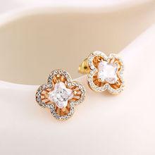 hot sell colorful flower stud earring /nice zircon flower earring /dubai gold jewelry earring in stock