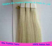 custom made remy human hair skin weft tape hair extension
