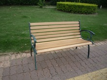 wooden slats garden metal chair