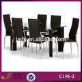 C196-2 moderno de cristal templado mesa de comedor y sillas de juegos
