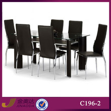 C196-2 modern tempered glass dining table and chairs sets