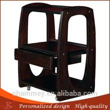 de madera de acrílico maquillaje carrito y sillas de madera doble pedicura belleza de la carretilla