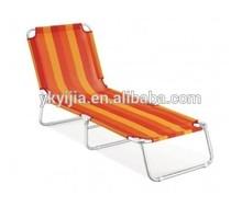 tropical yellow strip sun bed beach lounge folding