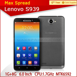 newest 6 inch Lenovo S939 3G Smart phone 1280x720 HD MTK6592 Octa Core 1.7GHz factory prices cell phones