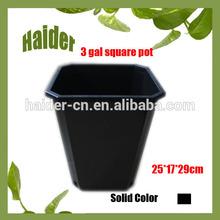 Hot 3 Gallon A Square Black plastic large flower pots For Plants