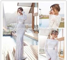 2014 Sexy See Through Scoop Mermaid Full Sleeves Lace Suzhou Wedding Dress