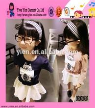 Fashion Lovely Girl Cat Printed Long Sleeve Dress Custom Round Neck Hot New Dress Designs For Kids