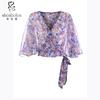 ladies semi sheer batwing sleeve floral top, flower print wrap top