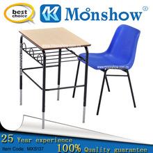school desk and plastic chair