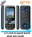 komay 2 cartes sim de téléphone mobile de haute qualité q7 prix le plus bas quad bande tv téléphone mobile nouvelle