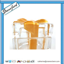 HOT Wholesale Elegant Handmade square crystal glass candy jar with Gold ribbon lid - c