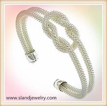 Wholesale elegant style twisted brass wire mesh sailor knot bracelet