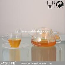 High Quality tea set with tray 500ml/17oz clear borosilicate glass tea and coffee set/tea cup and saucer sets