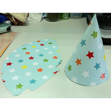 Hotsale Light Green Five-pointed Star Picture Paper Party Hat
