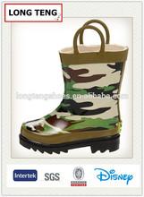 children cheap camo rubber rain boot with handle manufacturer