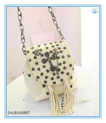 Fashion Trendy Women Punk Handbags New Designer Rivet Tassel Bags Woman Bag With Chain