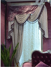 Luxurious european style curtains with attached valance