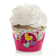 Playful Butterfly and Flowers - Baby Shower Cupcake Wrappers