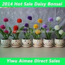 Wholesale mini plastic daisy flowers/price chrysanthemum cut flower bonsai(AM-AB08)