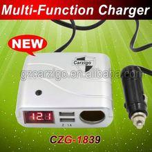 bike accessories 18AWG wire max current 15A 5v 1Amper 2.1Amper output pair USB ports 12v car charger socket