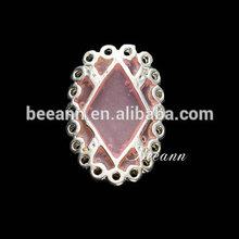 2014 new design creative pink oval metal, zircon DIY nail jewelry ,nail art