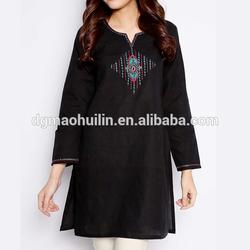 ladies embroidery fancy kurta fashion india clothing black rayon kurti
