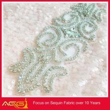 AB Stone Crystal Rhinestone Applique Silver Settings fancy elegant beautiful classic handmade bridal headpiece