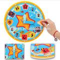 de dibujos animados reloj de juguete de los niños captar placa de rompecabezas de madera