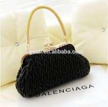 2014 luxury female fashion plait wrikles pu leather handbag bag/ evening dinner bag