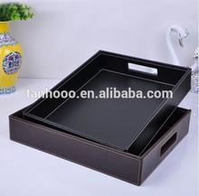 European top-grade rectangular tray leather/PU tray hotel tray
