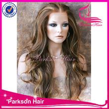 Wholesale beautiful virgin brazilian hair full lace / lace front wig , body wavy grey hair wigs for women