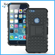 black kickstand hard pc tpu case for iphone 6