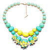 2014 New Arrival Elegant Sweet Candy Orange Pink Green Yellow Shell Flower Double Layer Resin Luxury Statement Necklace