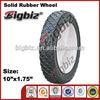 Wide plastic lawnmower rubber wheel , solid rubber garden cart wheel