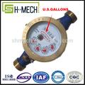 Galones de multi jet seco línea dn20 mm de pulso de salida/de agua del sensor del medidor de flujo