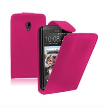 PINK Leather flip case cover pouch for mobile phone HTC Desire 700