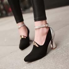 SY106 new arrival elegant rough heels contrast color shoes black suede women sandals