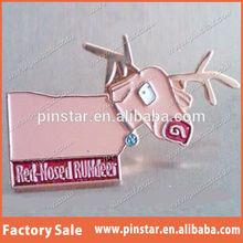 2014 New Custom Metal Hotsale Rudolph The Red Nose Run deer Xmas Christmas Gift Lapel Pin Very Cute Animal Lapel Pin Badge