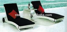 black & white popular outdoor rattan sun lounger set 2014