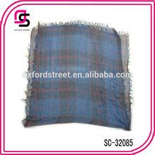 2015 trend women cross plaid dark color small fringe tassel shawl