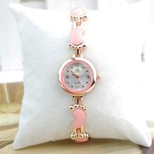 Fashion Popular and Cute Black Lady Bracelet Watch Cartoon Footprint Style LY022
