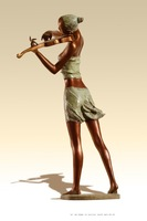 Life Size Garden Statues Playing Violin Bronze Sculpture