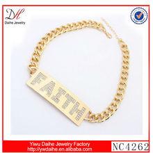 2014 Fashion simple design FAITH initial necklace
